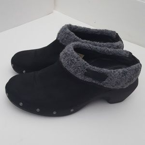 Merrell black gray leather clog size 7